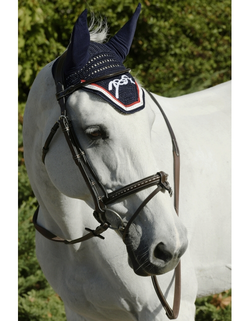 Point Sellier Fly veil  - Navy & White & Red