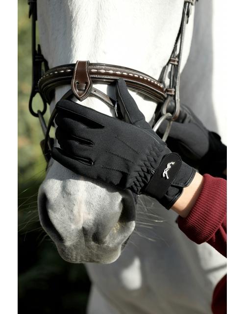 gants d'équitation en cuir noir Pénélope