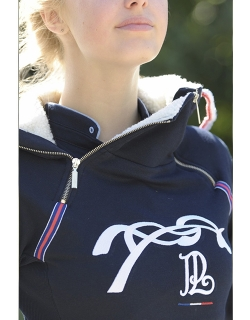 Double Zip Sweater- Navy
