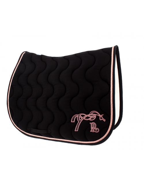 tapis de selle classique noir passepoil rose gold Pénélope