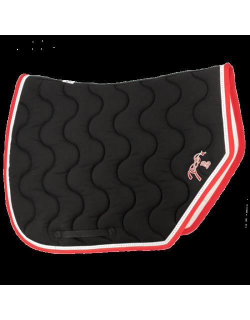 tapis Pénélope sport noir point sellier blanc et bordure rouge